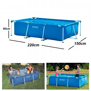 Above Ground Swimming Pool Rectangular Framed for Back Garden 220 x 150 x 60 cm